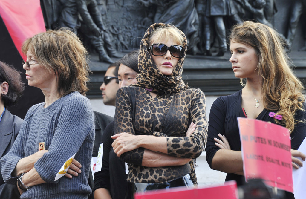 Jane Birkin supports a feminist demonstration in Paris, which was raising awareness for Sakineh Mohammadi-Ashtiani, a woman sentenced to death by stoning for adultery in Iran.