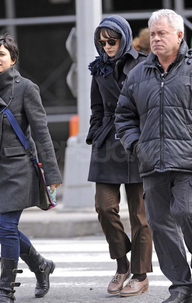 Carey Mulligan in character for Inside Llewyn Davis.
