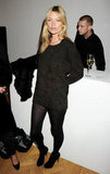 Kate Moss hung out backstage at James Small's show.