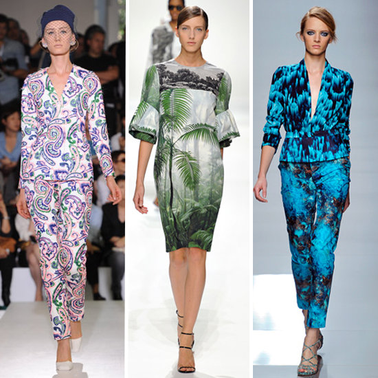 Florals weren't the only print, however. We saw the resurgence of paisley, cool botanical and photo prints, and more digitized prints. From left: Jil Sander, Dries Van Noten, Ungaro
