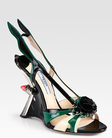 These Prada heels are quite literally smokin' hot.  Prada Embellished Sandals ($1,450)