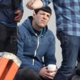 Zachary Quinto took a break on set.