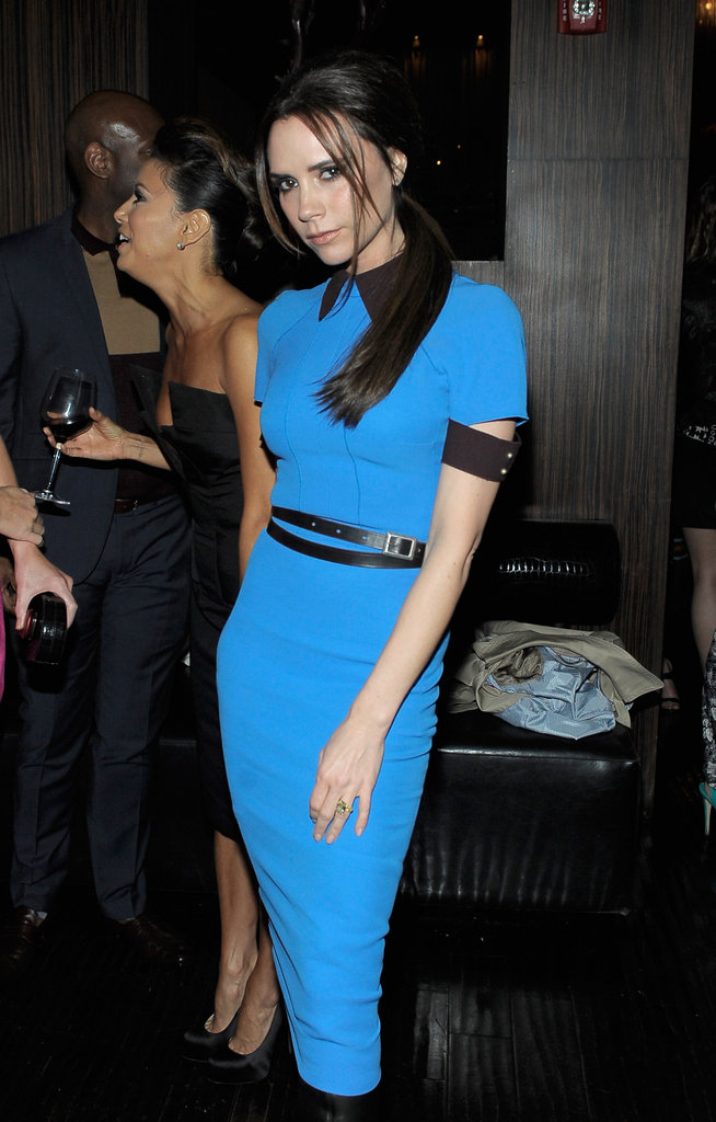 Victoria Beckham wore one of her own designs.