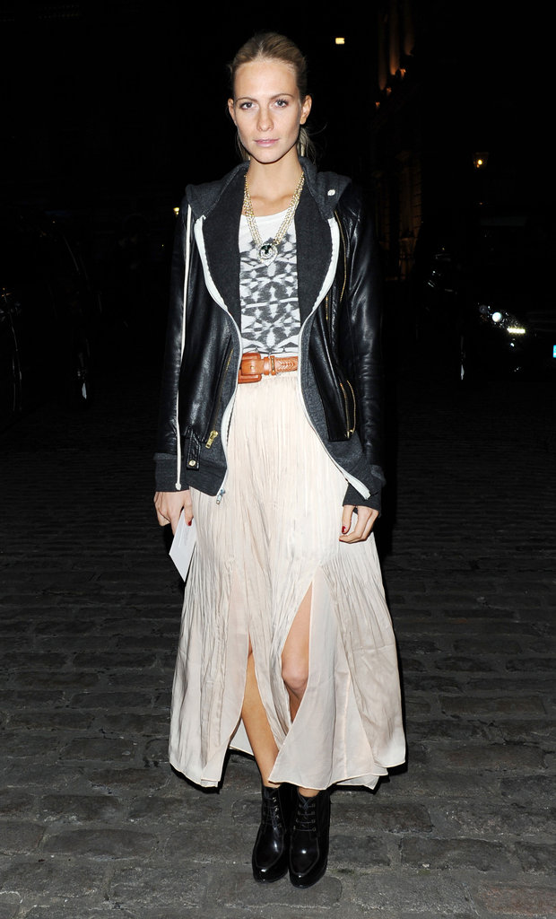Poppy Delevigne scored major style points with this utterly cool street-styled midi skirt and leather combo.