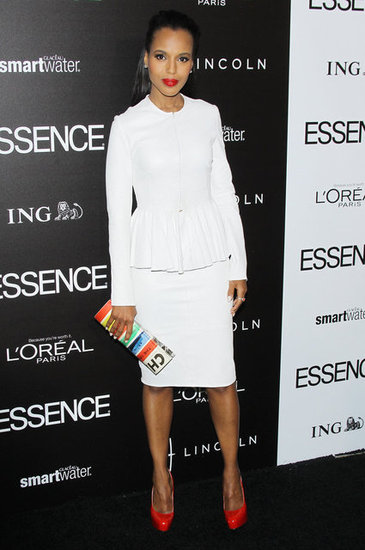 Kerry Washington looked sleek in a Cushnie et Ochs peplum skirt suit with bright red Brian Atwood heels and a colorful magazine clutch at the annual Essence Black Women in Hollywood luncheon. The Winter white trend is sticking around for a while, see the latest looks from the NYFW runways.