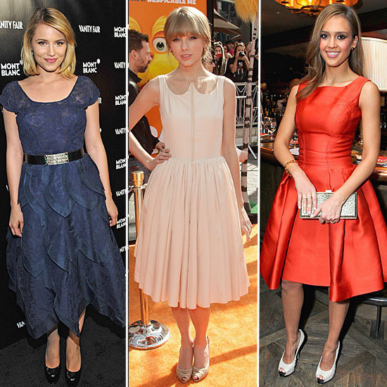 We've spotted our favorite celebs sporting an ultra-ladylike silhouette, full-skirted dresses to be exact. Click through to see who's donning these charming frocks and how to re-create the look!