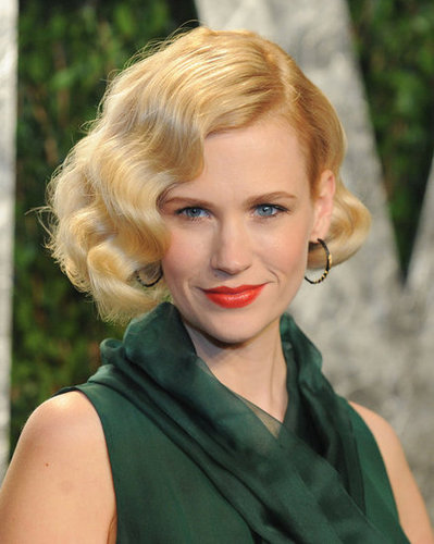 January Jones close up at the Vanity Fair party.