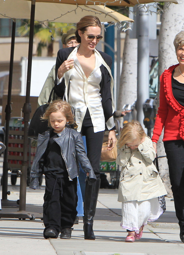 Angelina Jolie Recovers From the Oscars With the Twins and Brad's Mom