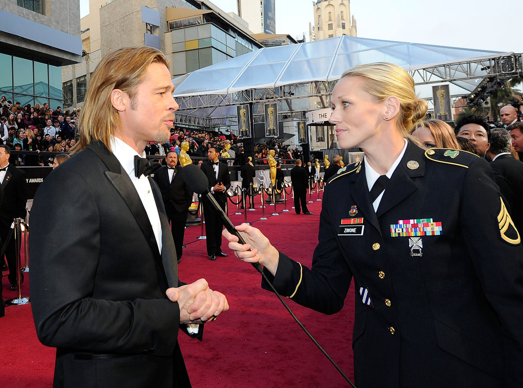Brad Pitt granted an interview to a servicewoman.
