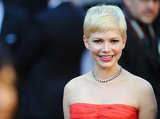 Michelle Williams paired her pixie cut with a strapless Louis Vuitton dress.