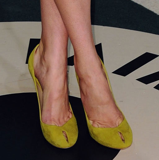 Shaliene Woodley opted for citrus-hued Diane von Furstenberg pumps.