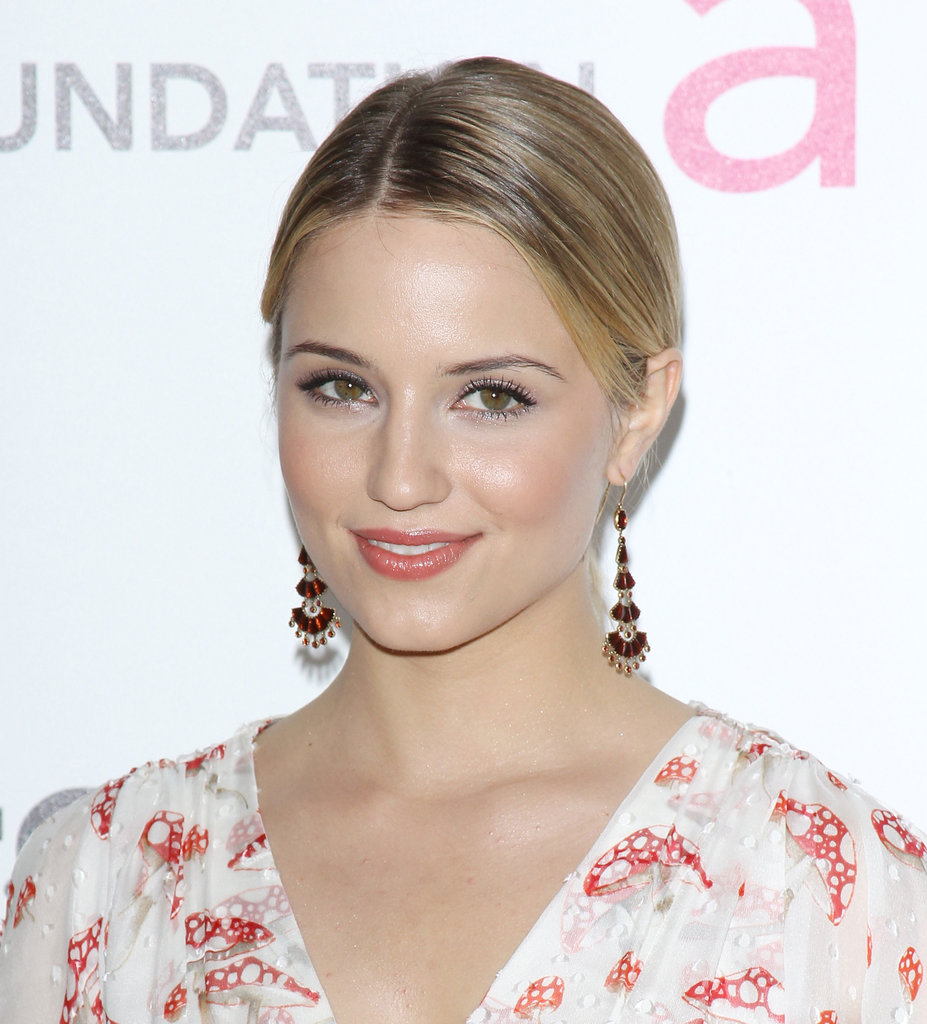 A pair of ruby-red tiered jewel drop earrings like Dianna Agron's lends a little exotic decadence to any style.  4801577