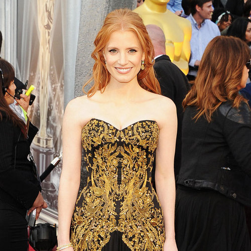 Jessica Chastain Alexander McQueen Dress Pictures at 2012 Oscars