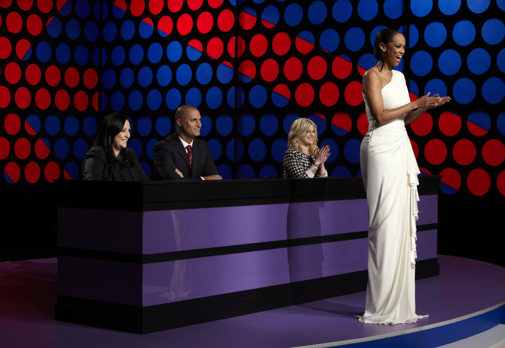 Kelly Cutrone, Nigel Barker, Kelly Osbourne, and Tyra Banks on America's Next Top Model.  Photo courtesy of The CW