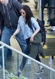 Kristen Stewart in a denim shirt.