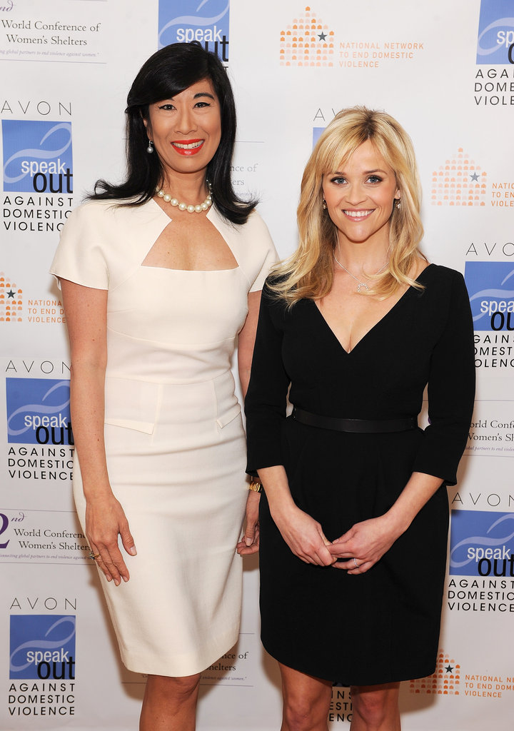 Reese Witherspoon promoting Avon with the CEO.