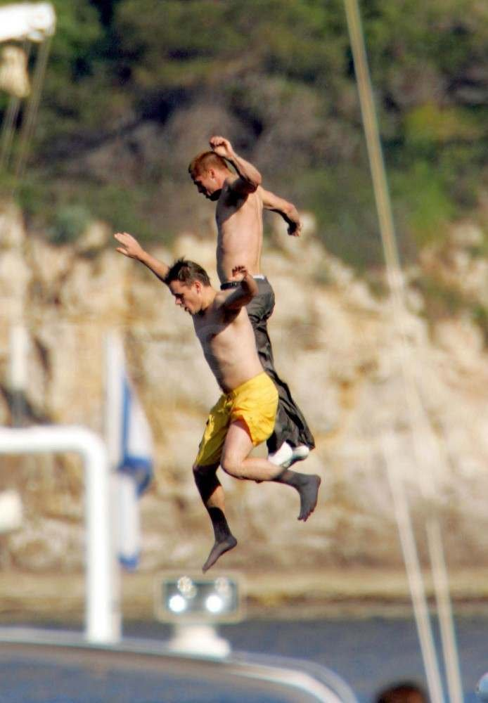 In 2004, Matt Damon and Brad Pitt jumped off a boat in France.