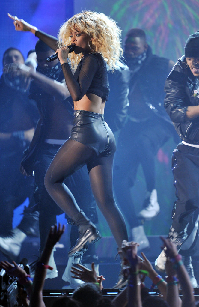 Rihanna skipped on stage at the 2012 Grammys.