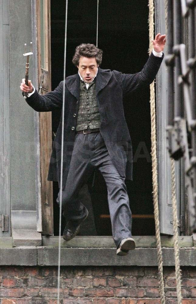 Robert Downey Jr. jumped out of a London building while filming a stunt for Sherlock Holmes in 2008.