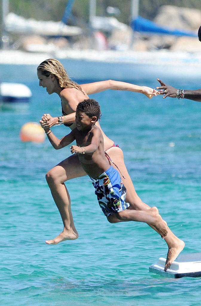 Heidi Klum and her son jumped into the water in Italy during a trip there in 2011.