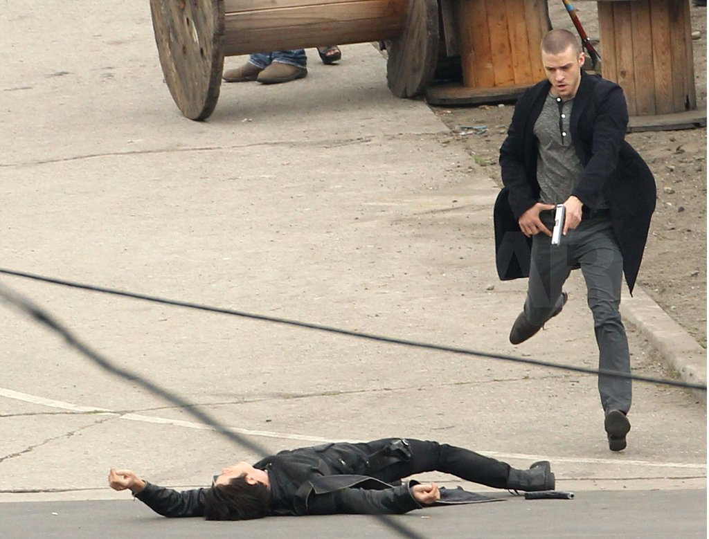 Justin Timberlake lept around the LA set of In Time in 2010.