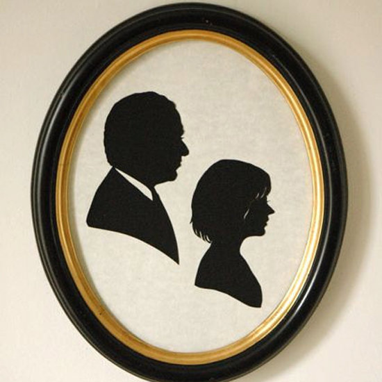 If you like the look of those frames on the top shelf, consider importing some sweet silhouettes. A portrait of Handcut Silhouettes ($130) is great for siblings or a husband and wife. The Etsy seller Andrea Peitsch will customize them just for you.