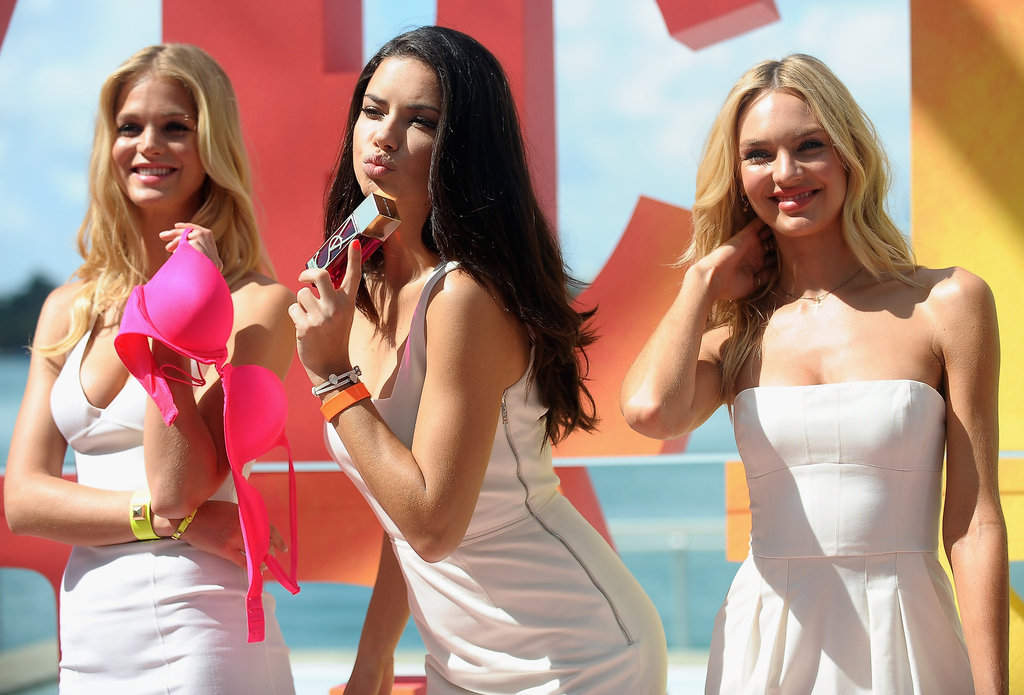 Adriana Lima, Erin Heatherton, and Candice Swanepoel wore white together.