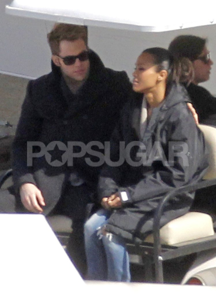 Zoe Saldana and Chris Pine caught up on their way to set.