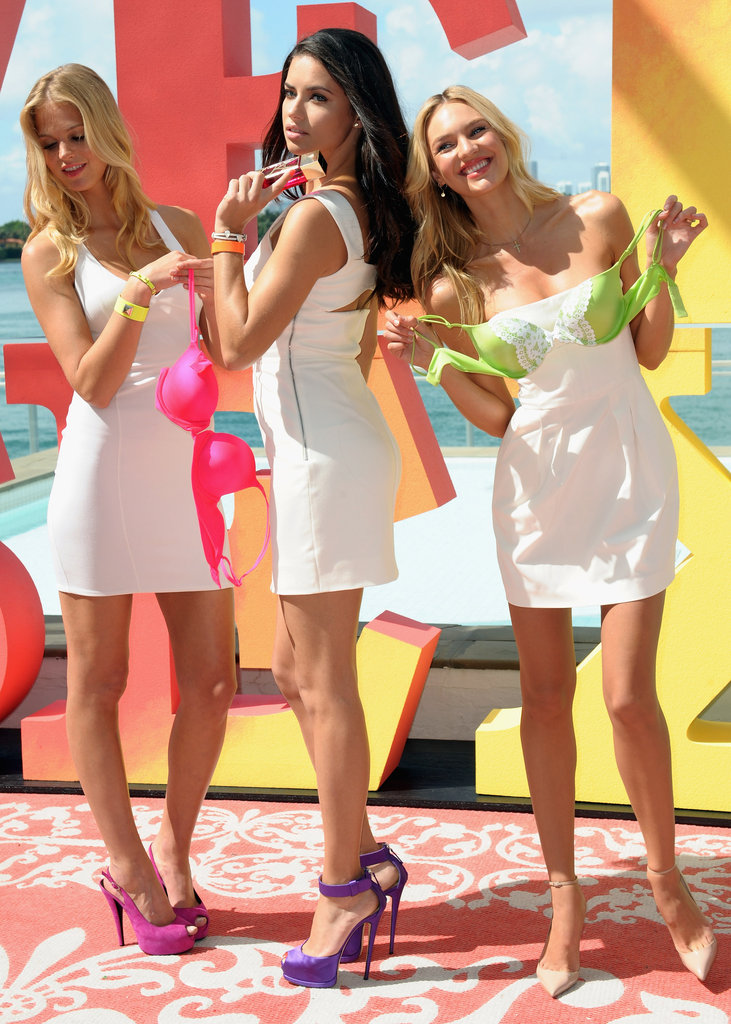 Adriana Lima, Erin Heatherton, and Candice Swanepoel showed off new Victoria's Secret bras.