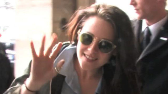 Video: Kristen Stewart Lands in France Ahead of Fashion Week