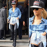 Rihanna Rocks Sexy Double Denim, Studs and Leather: Do You Like her London Look?