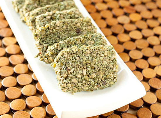 Raw spirulina energy crunch bars, also from the Healthful Pursuit, are an inventive way to get a boost of spirulina. With coconut and sunflower seeds mixed in, these bars make a low-cal, nutritious snack.