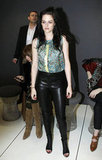 Kristen Stewart wore open-toed boots paired with her leather pants.
