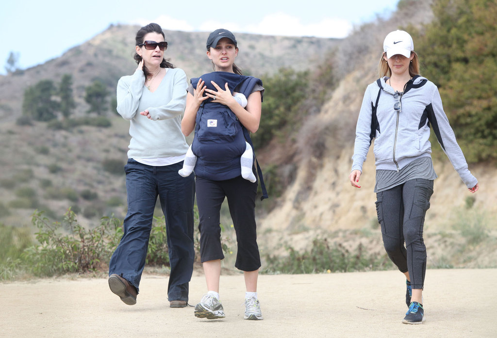Natalie Portman sported athletic gear and a carrier for Aleph Millepied.
