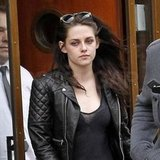 Kristen Stewart wearing a leather jacket.