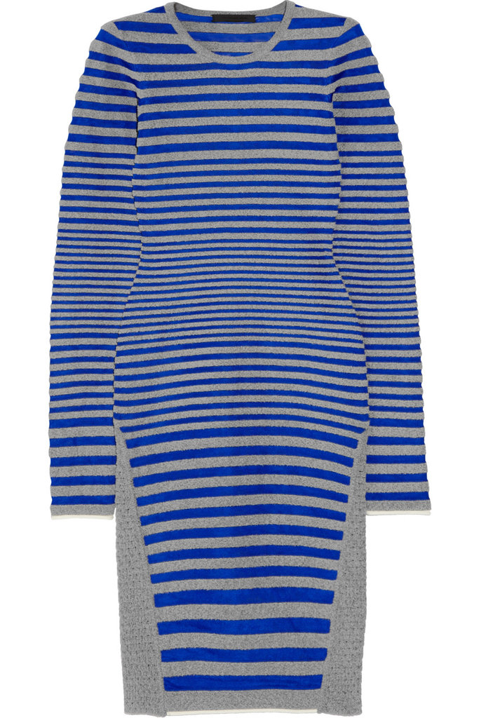 """I love the way these satin and twill, blue and gray stripes hug the body. I'll be wearing this dress with tights while it's still chilly, and then with cutout Balenciaga boots when the temperatures heat up!"" — Allison McNamara, host and producer, FabSugarTV  Alexander Wang dress ($650)"
