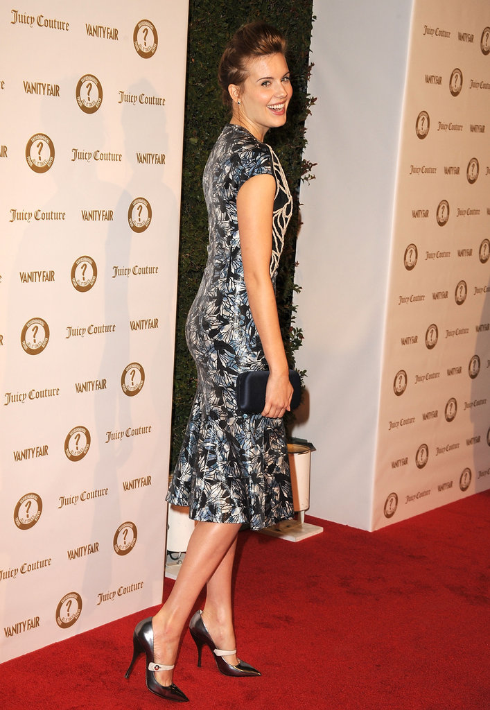 Maggie Grace slipped into a ladylike-cum-cool pair of metallic Mary Janes.