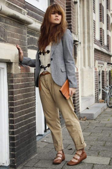 Preppy layers and tailored trousers give weekend style a polished upgrade. If the weather permits, pair your look with sweet strap-infused flats. Photo courtesy of Lookbook.nu