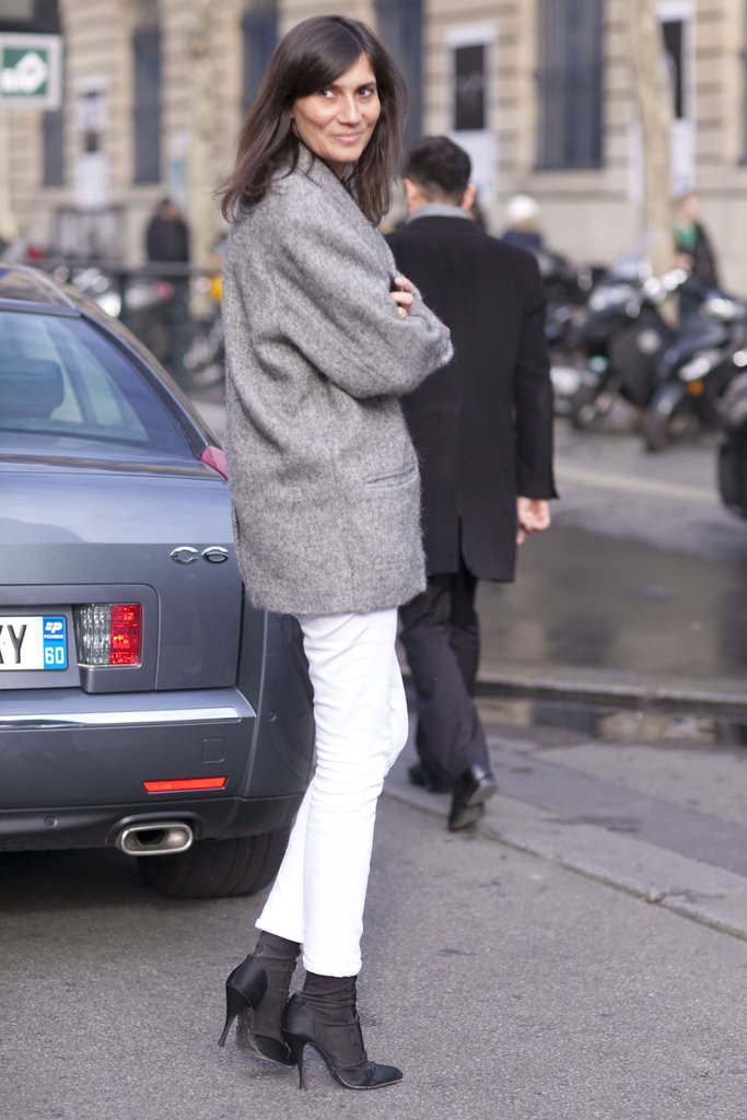Emmanuelle Alt gives white denim a polished seasonal makeover.