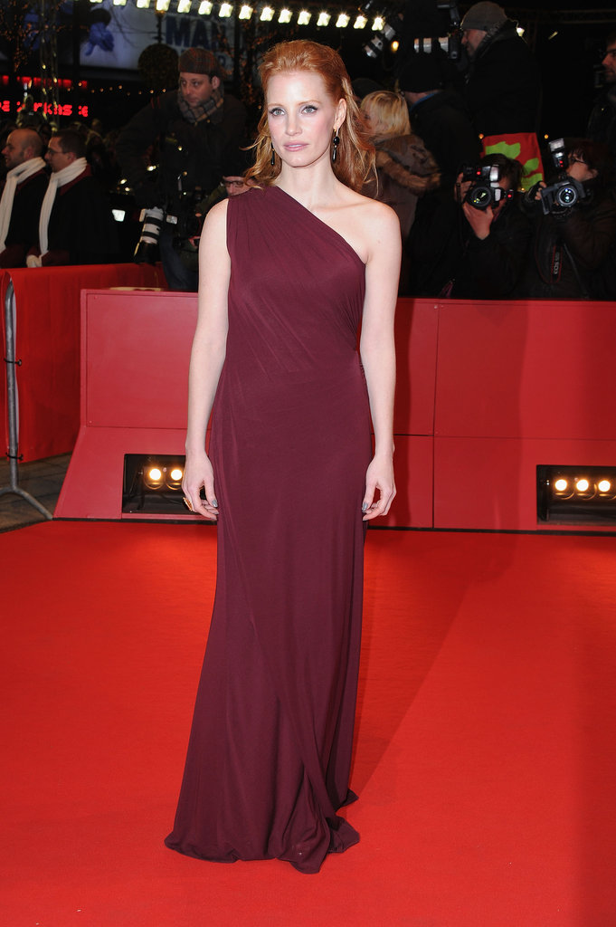 An elegant berry-hued gown at the Berlin Film Festival in February 2011.