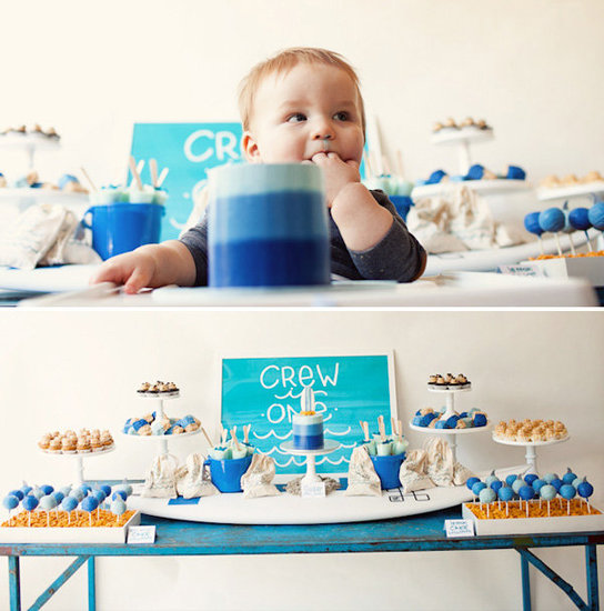 A Blue Ombre Surf First Birthday Brunch
