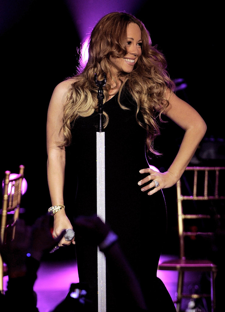 Mariah Carey wore a tight black dress to an NYC show.