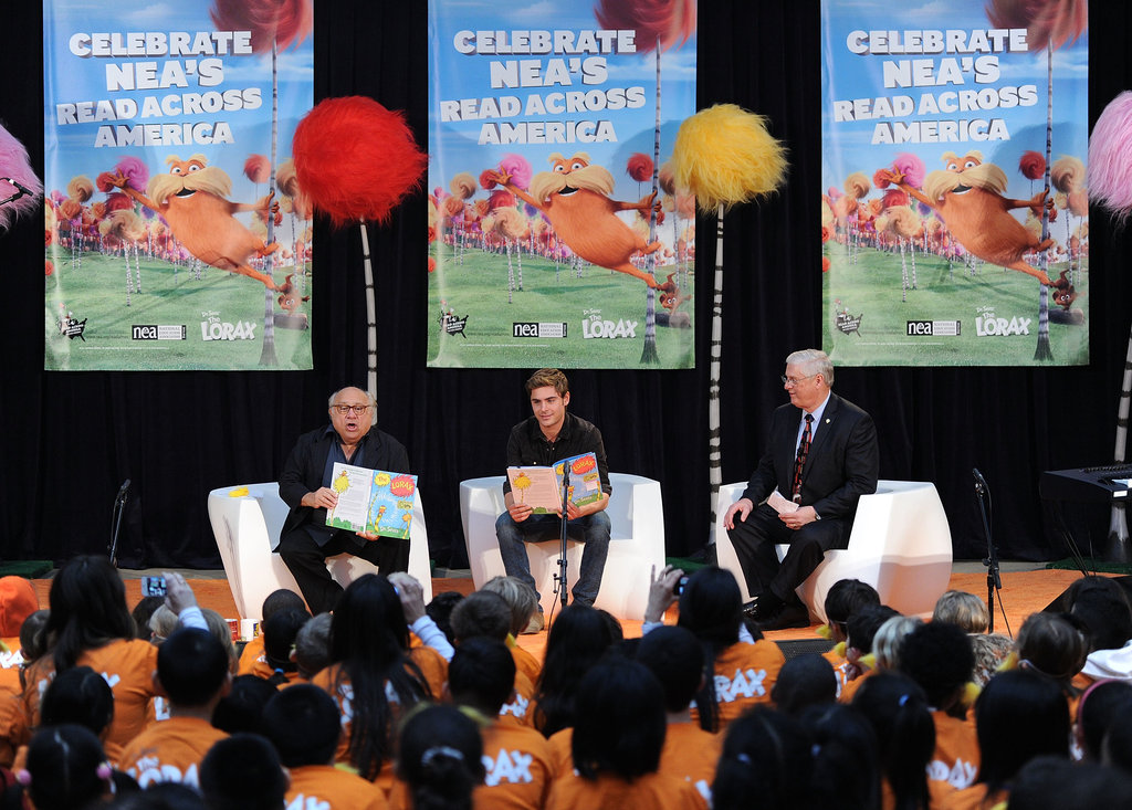 Zac Efron and Danny DeVito celebrated Dr. Seuss's birthday with a reading at NYC's Public Library.