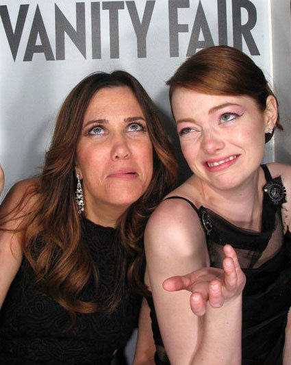 Emma Stone and Kristen Wiig took silly photo booth pictures at the Vanity Fair Oscars afterparty in March 2012. Source: Vanity Fair