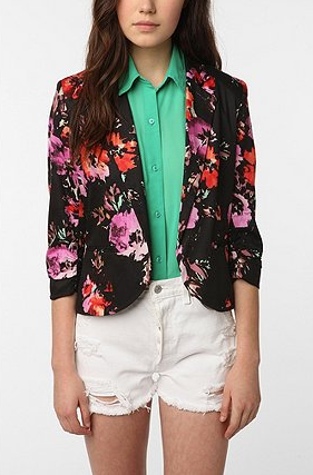 Sparkle & Fade Printed Cropped Ruched-Sleeve Blazer ($79)