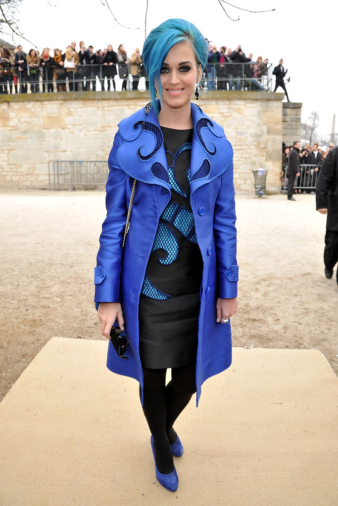 Katy Perry rocked an ultra-blue Viktor & Rolf outfit to the brand's show.