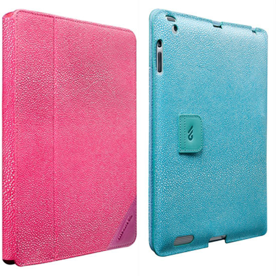 Available in pink and turquoise, the embossed leather Stingray iPad case ($90) uses smart magnet to put the iPad in sleep mode when closed and awaken it when the case is opened.