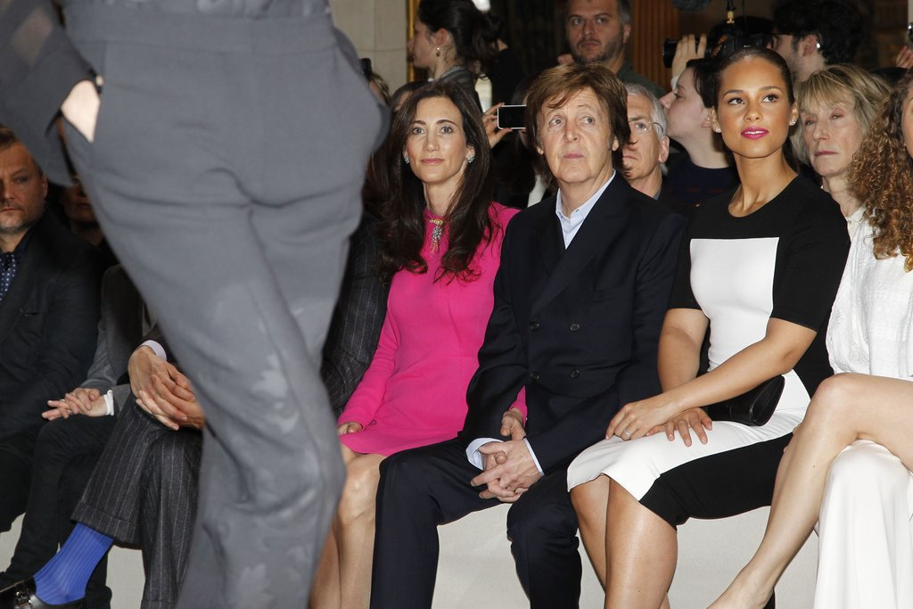 Paul McCartney and Nancy Shevell sat front row with Alicia Keys.