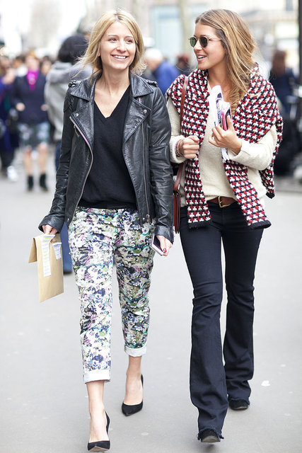 We're smitten with the cropped floral jeans-and-leather jacket combo. The ideal mix of tough meets girlie.