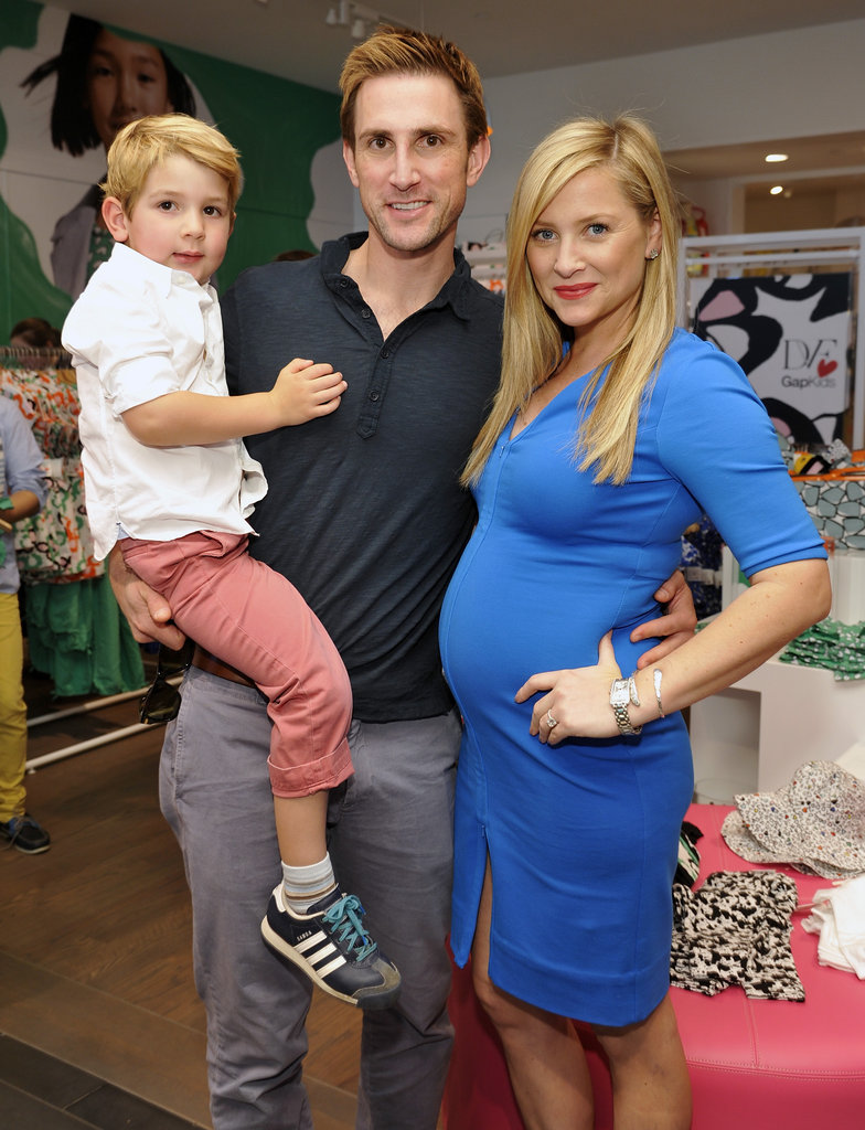 An expectant Jessica Capshaw attended the DVF for Gap Kids launch with her husband, Christopher Gavigan, and their son Luke, 4.